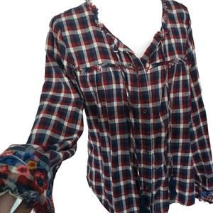 Girl krazy flannel shirt floral red blue size med